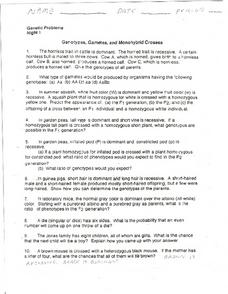Genotype, Gametes, and Monohybrid Crosses Worksheet