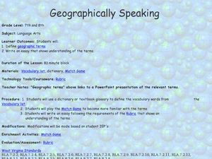 Geographically Speaking Lesson Plan