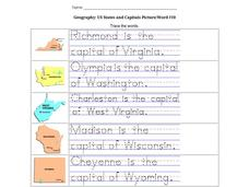 Geography: US States and Capitals Picture/Word #10 Worksheet