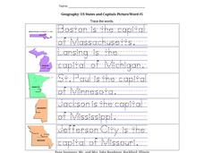 Geography: US States and Capitals Picture/Word #5 Worksheet
