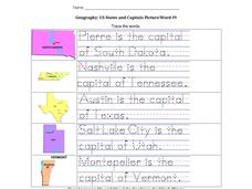 Geography: US States and Capitals Picture/Word #9 Worksheet
