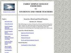Geology Word Puzzles and Word Searches Lesson Plan