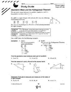 Printables Geometric Mean Worksheet geometric mean and the pythagorean theorem 10th grade worksheet worksheet