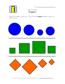 Geometric Shape Size Comparison Worksheet Worksheet