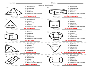 Geometric Solids Multiple Choice 4th - 5th Grade Worksheet ...