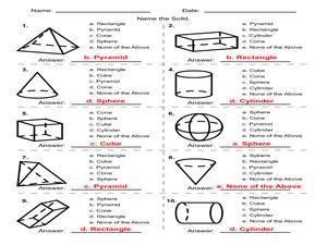 Printables Geometric Solids Worksheet geometric solids multiple choice 4th 5th grade worksheet worksheet
