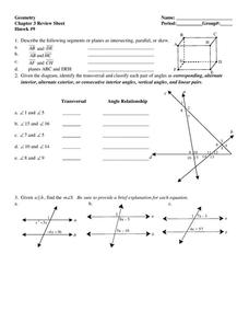 Geometry: Chapter 3 Review Sheet Worksheet