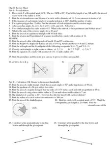 Geometry: Circumference, Triangles, Area Worksheet