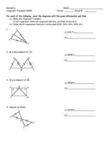 Geometry: Congruent Triangles HW#6 8th - 10th Grade Worksheet ...