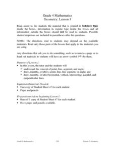 Geometry: Lesson 1: Points, Lines, Segments, Angles Lesson Plan