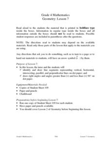 Geometry Lesson 7: Line Segments And Angles Lesson Plan