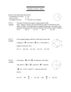 Geometry of Circles - Week 7 (Area & Circumference) Lesson Plan