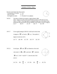 Geometry of Circles:  Week 7 Lesson Plan