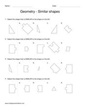 Worksheets Similar Shapes Worksheet Grade 4 geometry similar shapes 2nd 3rd grade worksheet lesson planet shapes
