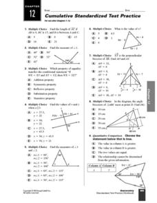 Geometry Standardized Test Practice 10th Grade Worksheet | Lesson ...