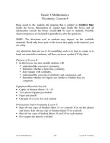 Geometry:  Symmetry and Congruency Lesson Plan