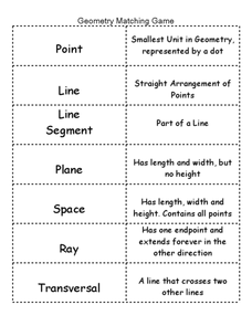 Worksheet Geometry Vocabulary Worksheet geometry terms matching game 5th 7th grade worksheet lesson planet worksheet
