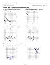 Geometry: Transformations Practice 9th - 12th Grade Worksheet ...