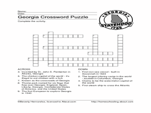 Georgia Crossword Worksheet