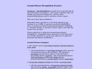 Worksheets Gerund Phrase Worksheet gerund phrase recognition practice 7th 8th grade lesson plan plan