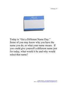 Get a Different Name Day: February 13 Worksheet