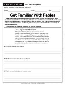 Get Familiar With Fables Worksheet