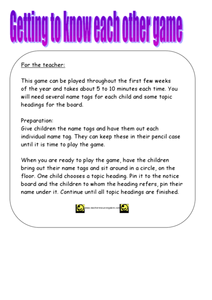 Get to Know You Game Lesson Plan