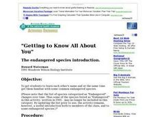 Getting To Know All About You: the Endangered Species Introduction Lesson Plan