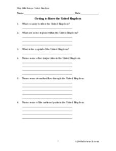 Getting to Know the United Kingdom Worksheet