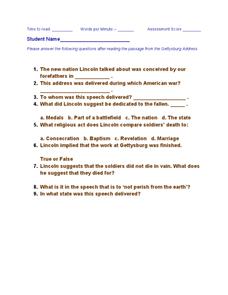 Printables Gettysburg Address Worksheet gettysburg address questions 8th 12th grade worksheet lesson worksheet