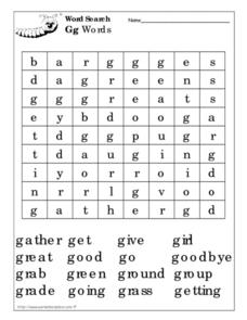 Gg Word Search Worksheet