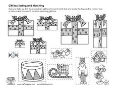 Gift Box Sorting and Matching Worksheet