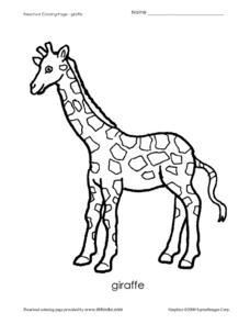 Giraffe Coloring Page Worksheet