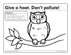 Give a Hoot. Don't Pollute! Worksheet