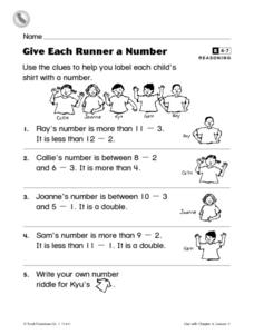Give Each Runner a Number Worksheet