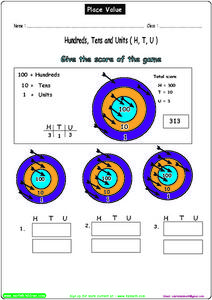 Give the Score of the Game- Hundreds, Tens, and Units Worksheet