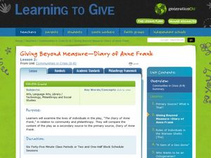 Giving Beyond Measure: Diary of Anne Frank Lesson Plan