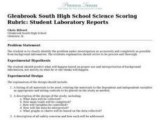 Glenbrook South High School Science Scoring Rubric: Student Laboratory Reports Worksheet