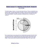Globe Lesson 11 - Rotation of the Earth - Grade 6+ Worksheet