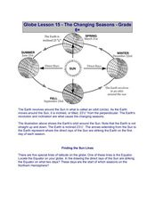 Globe Lesson 15 - The Changing Seasons - Grade 6+ Worksheet