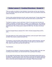 Globe Lesson 3 - Cardinal Directions - Grade 6+ Worksheet