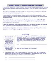 Globe Lesson 9 - Around the World - Grade 6+ Worksheet