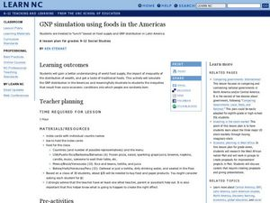 GNP simulation using foods in the Americas Lesson Plan