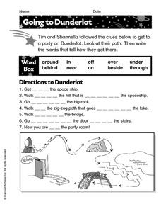 Going to Dunderlot: Fill in the blanks Worksheet