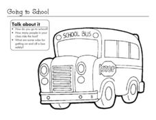 Going to School Coloring Sheet Worksheet