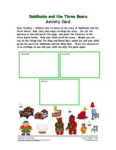 Goldilocks and the Three Bears Activity Card Worksheet