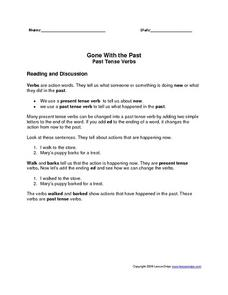 Gone With the Past: Past Tense Verbs Worksheet