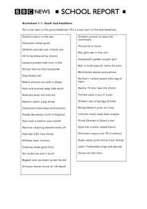 Good/Bad Headlines BBC News School Report Worksheet