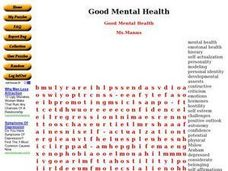 Worksheets Mental Health Worksheets good mental health word search 10th 11th grade worksheet worksheet