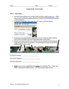 Google Earth Worksheet